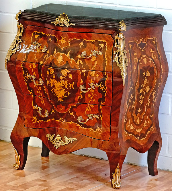 commode galbee style louis xv en bois marqueterie marquete. Black Bedroom Furniture Sets. Home Design Ideas