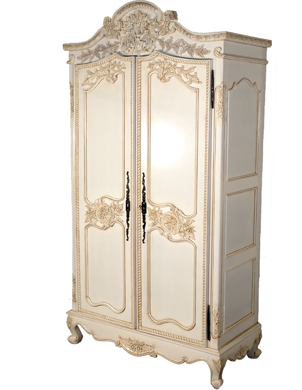 imposanter schrank shabby hochzeitsschrank antik weiss massivholz kleiderschrank ebay. Black Bedroom Furniture Sets. Home Design Ideas