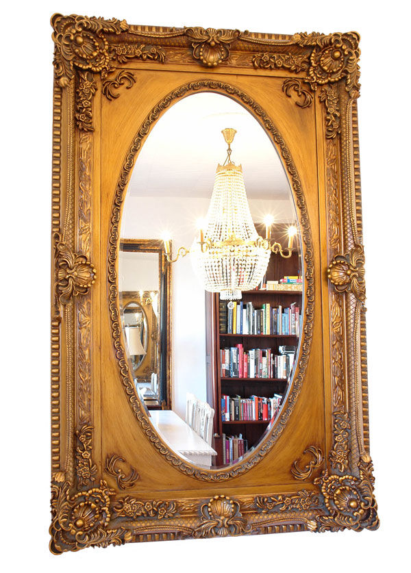 Baroque oval mirror french louis xv style rococo glass for Baroque oval mirror
