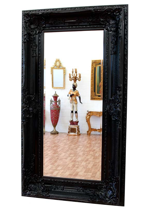 grand miroir baroque noir 160x88cm cadre en bois rococo rocailles louis xv xvi ebay. Black Bedroom Furniture Sets. Home Design Ideas